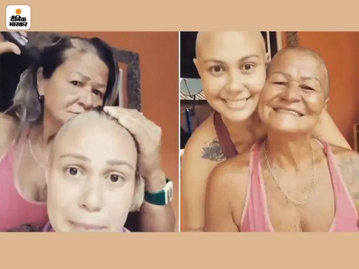 मां ही है असली सुपरहीरो:कैंसर से जंग लड़ रही बेटी का साथ देने के लिए मां ने शेव किए अपने बाल, सोशल मीडिया पर यूजर ने किया उनके जज्बे को सलाम