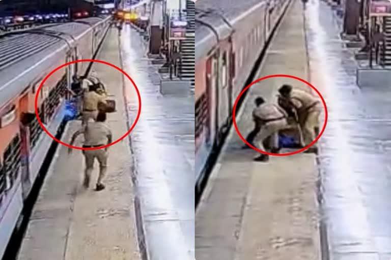 चलती ट्रेन से उतरने की कोशिश में गिरा यात्री, ट्रेन-प्लेटफॉर्म के बीच फंसा; RPF जवान ने बचाई जान, Video Viral